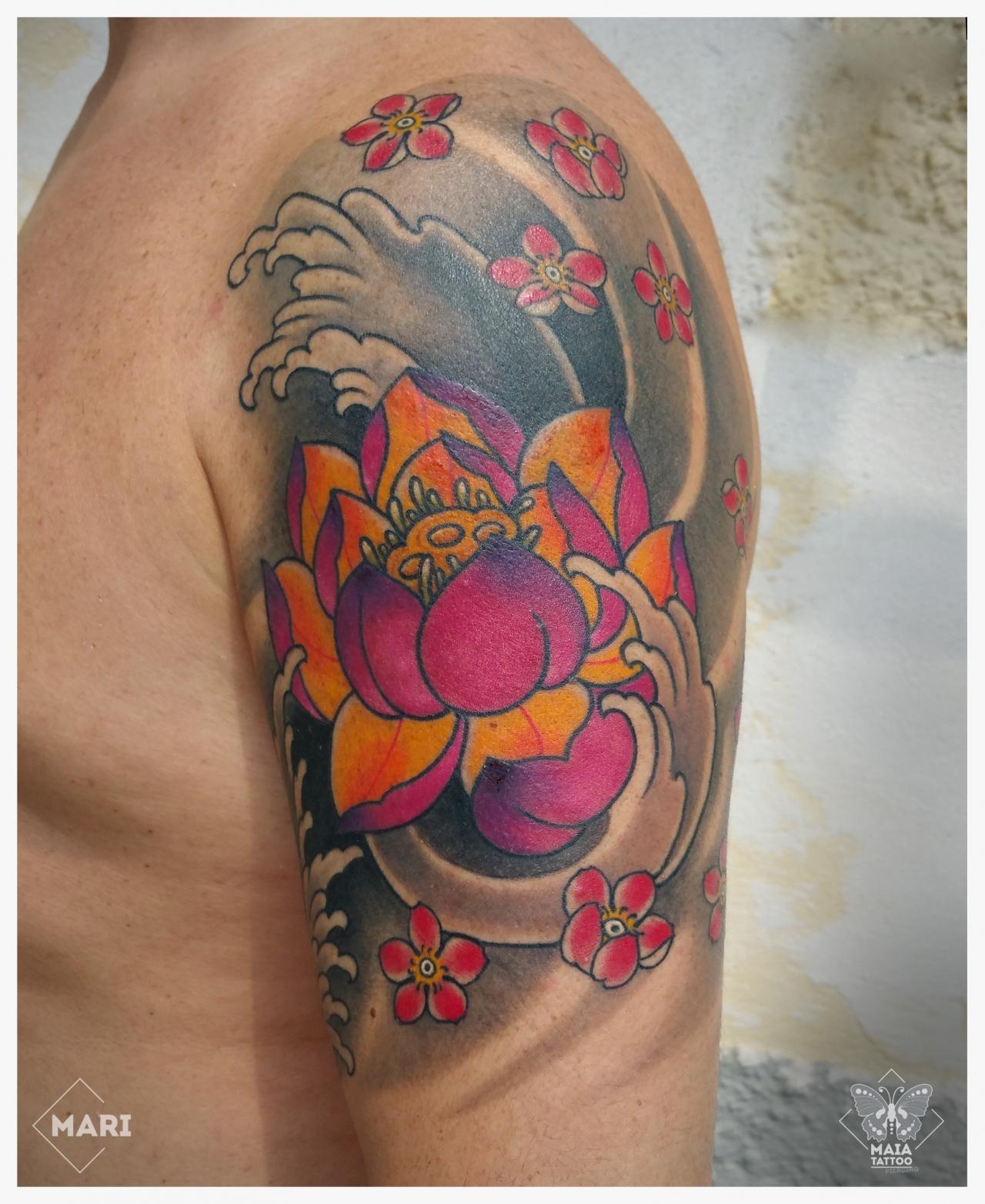 Maia Tattoo Tatuaggio In Stile Giapponese Su Braccio Con
