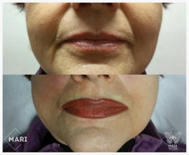 Fotografia di labbra di donna con tatuaggio semipermanente appena eseguito ad effetto rossetto,fatto da Marianna bevilacqua presso lo studio Maia Tattoo di Milano Cornaredo