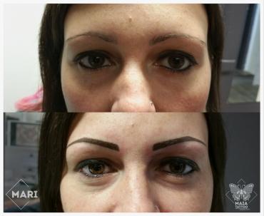 Fotografie del prima e del dopo, di un viso di donna con tatuaggio semi-permanente alle sopracciglia, effetto piene, prima e dopo, lavoro eseguito da Marianna Bevilacqua presso il Maia Tattoo