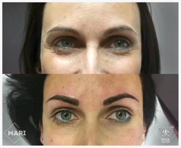 Due fotografie di un viso prima e dopo un tatuaggio semipermanente alle sopracciglia con lavorazione a pelo eseguito da Marianna bevilacqua presso lo studio Maia Tattoo di Milano Cornaredo